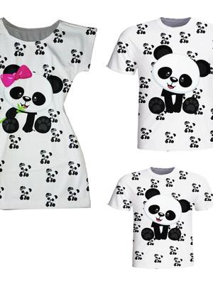 Camisetas Pai e Filho + Vestido Mãe - Panda