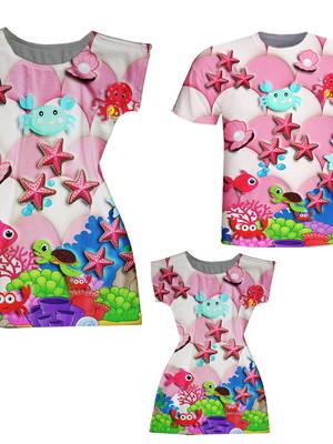 Vestidos Mãe e Filha + Camiseta Pai - Fundo do Mar Rosa