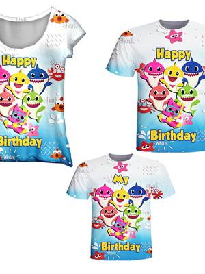 Camisetas Pai, Mãe e Filho - Baby Peixinhos Happy