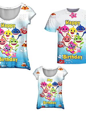 Camisetas Pai, Mãe e Filha - Baby Peixinhos Happy
