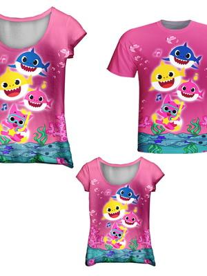 Camisetas Pai, Mãe e Filha - Baby Peixinhos Rosa