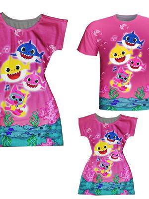 Vestidos Mãe e Filha + Camiseta Pai - Baby Peixinhos Rosa