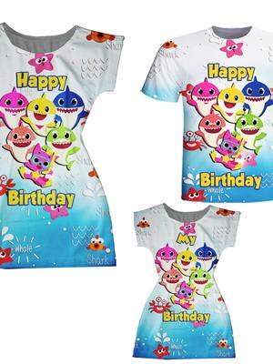 Vestidos Mãe e Filha + Camiseta Pai - Baby Peixinhos Happy