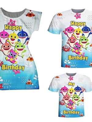 Camisetas Pai e Filho + Vestido Mãe - Baby Peixinhos Happy