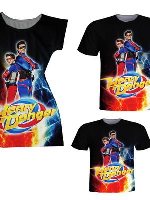 Camisetas Pai e Filho + Vestido Mãe - Danger
