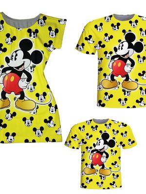Camisetas Pai e Filho + Vestido Mãe - Mickey Amarelo