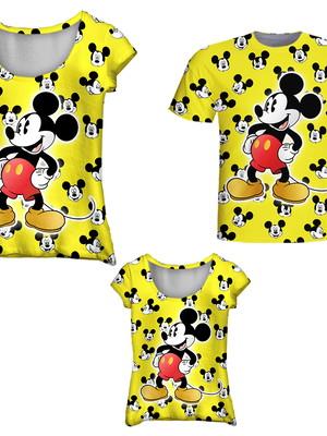Camisetas Pai, Mãe e Filha - Mickey Amarelo