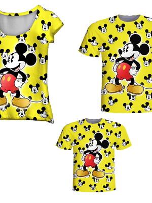 Camisetas Pai, Mãe e Filho - Mickey Amarelo