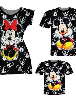 Camisetas Pai e Filho + Vestido Mãe - Mickey e Minnie Preto