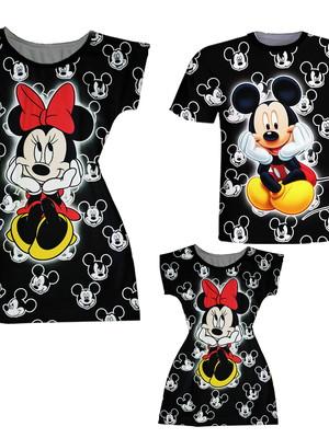 Vestidos Mãe e Filha + Camiseta Pai - Minnie e Mickey Preto
