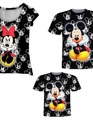 Camisetas Pai, Mãe e Filho - Mickey e Minnie Preto