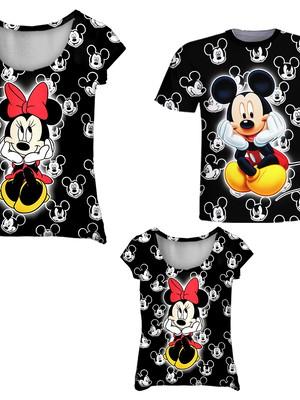 Camisetas Pai, Mãe e Filha - Minnie e Mickey Preto