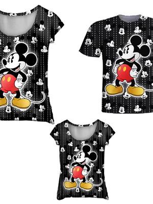 Camisetas Pai, Mãe e Filha - Mickey Grafiti