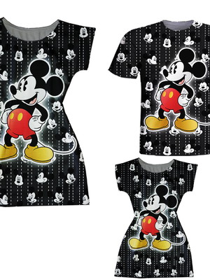 Vestidos Mãe e Filha + Camiseta Pai - Mickey Grafiti