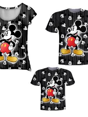Camisetas Pai, Mãe e Filho - Mickey Grafiti