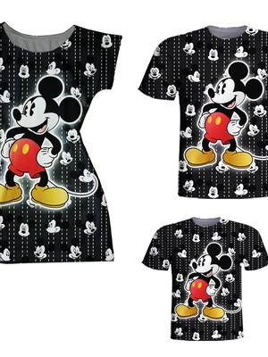 Camisetas Pai e Filho + Vestido Mãe - Mickey Grafiti
