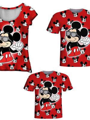Camisetas Pai, Mãe e Filho - Mickey Vermelho