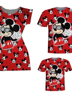 Camisetas Pai e Filho + Vestido Mãe - Mickey Vermelho