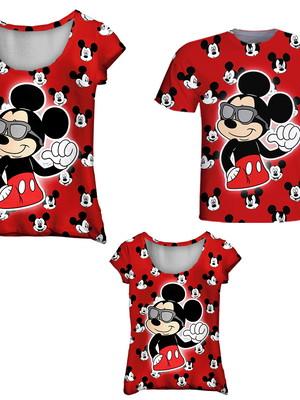 Camisetas Pai, Mãe e Filha - Mickey Vermelho