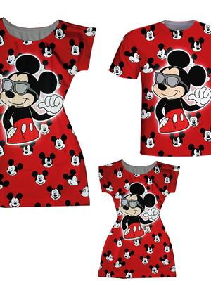 Vestidos Mãe e Filha + Camiseta Pai - Mickey Vermelho