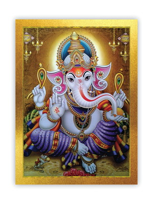 Quadro Ganesha Hindu, Moldura Dourada e Vidro Tam. A4