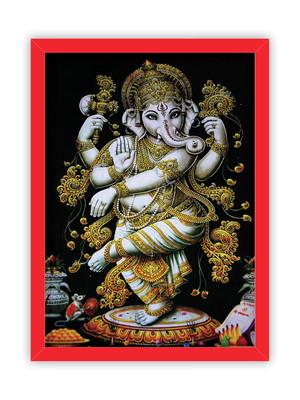 Quadro Ganesha Hindu, Moldura Vermelha e Vidro Tam. A4