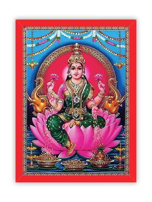 Quadro Deusa Lakshmi Hindu, Moldura Vermelha e Vidro Tam. A4