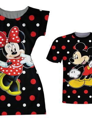Vestido adulto, Camiseta Infantil - Mickey & Minie bolinhas