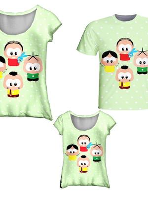 Camisetas Pai, Mãe e Filha - Turma da Moni Toy Poá