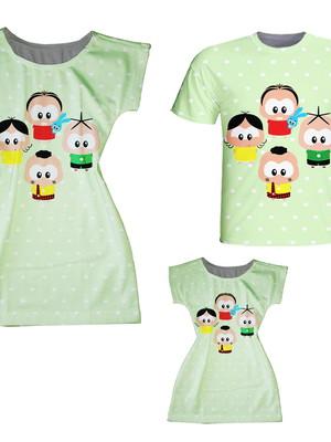 Vestidos Mãe e Filha + Camiseta Pai - Turma da Moni Toy Poá