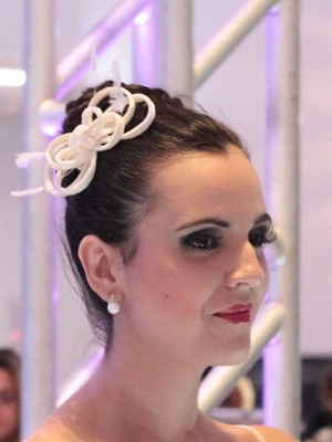 Fascinator Laço Penas - Off-white