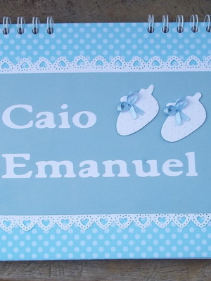 caderno personalizado bebê menino chá fraldas maternidade