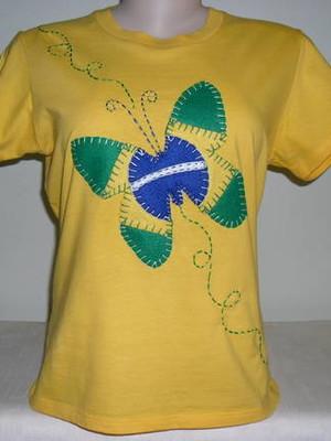 Camisetas Baby Look - Verde e Amarelo