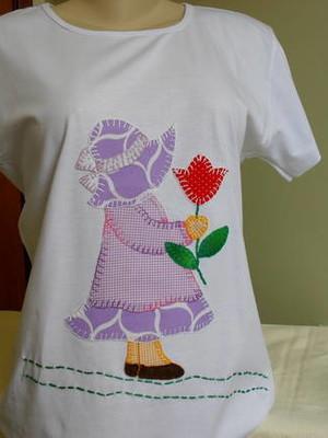 Camiseta Baby Look - Menina sunbonnet