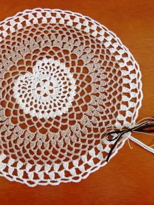 Conjunto para mesa em crochet Coração
