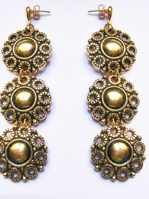 Maxi Brinco Vintage Flowers Dourado