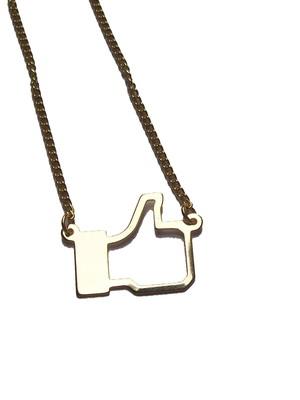 Colar Like Facebook Folheado a Ouro