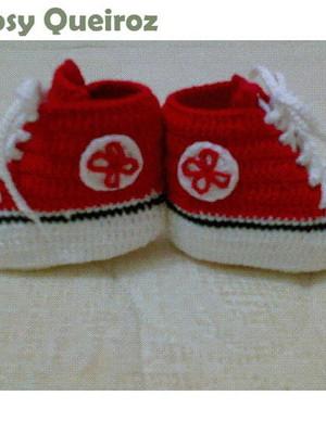 Sapatinho de Bebê All Star em Crochê