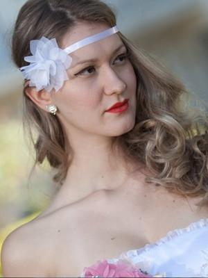 Grinalda de noiva Headband flor e fita