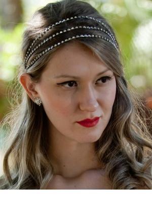 Tiara cabelo noiva cordões de cristais