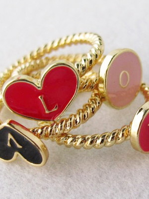 Colar Conjunto de anéis LOVE