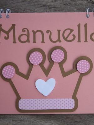 caderno scrapbook mensagem fotos menina princesa maternidade