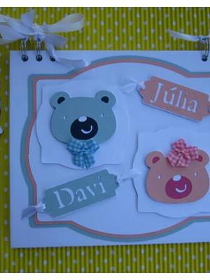 Caderno Personalizado mensagens maternidade urso Gêmeos