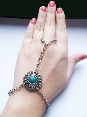 Slave Bracelete Vintage Flower Turquoise