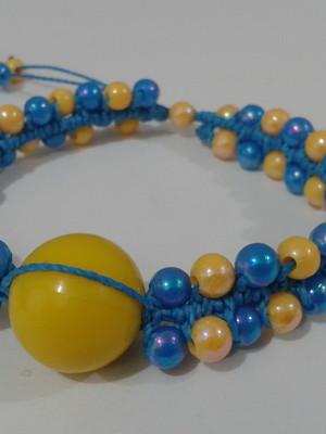 Pulseira azul e amarela