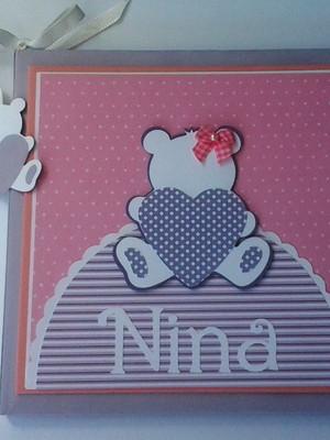 livro diário bebê personalizado menina ursa scrapbook