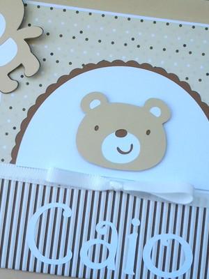 livro e diário do bebê personalizado menino ursinho neutro