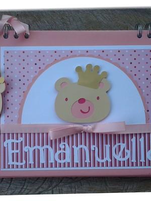 caderno personalizado bebê menina ursinha princesa scrapbook