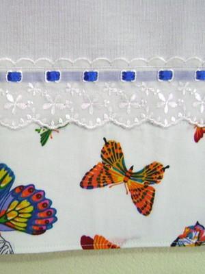 Pano De Prato com Barrado 45x65 cm Borboletas Multicoloridas