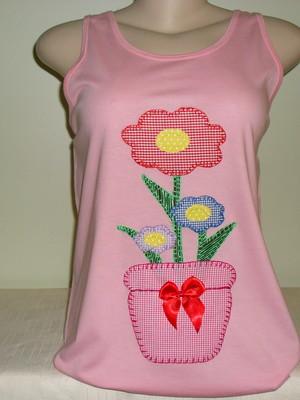Camiseta Regata Vaso De Flores